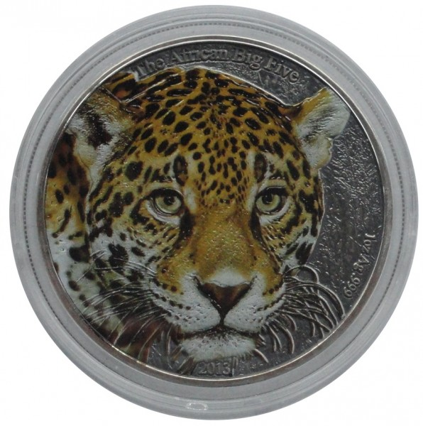 Kamerun 1000 Francs 1 Oz Silber Leopard Farbe 2013 im Etui