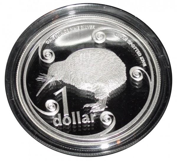 Neuseeland-1-Unze-Silber-Kiwi-Munze-2004-Little-Spotted-Polierte-Platte