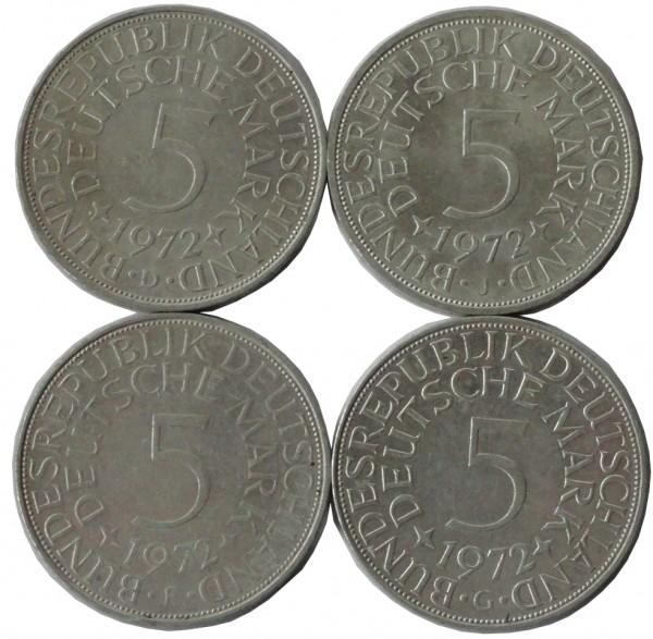 BRD: 5 DM Umlaufmünzen Silber DFGJ 1972 Komplettsatz