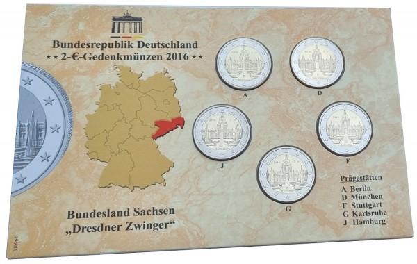 BRD: 5 x 2 Euro Münzen ADFGJ Dresdner Zwinger 2016 im Folder