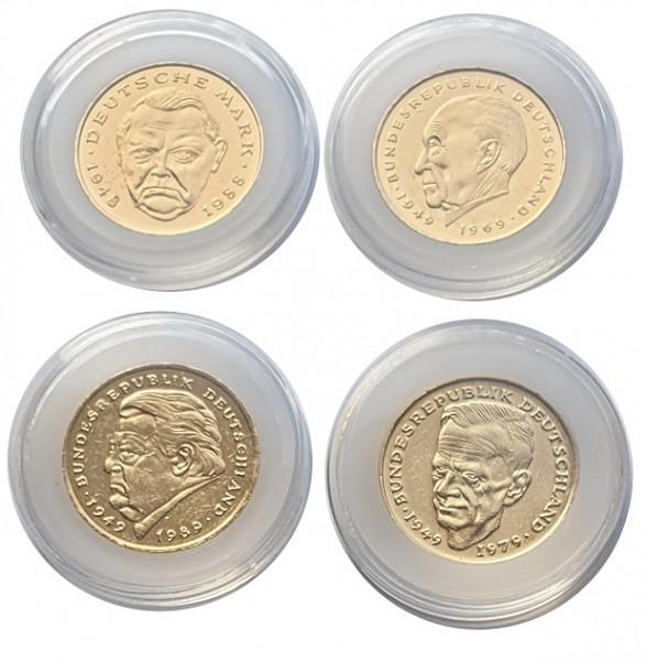 Berühmte Politiker 4 x 2 DM Münzen vergoldet in Münzkapseln