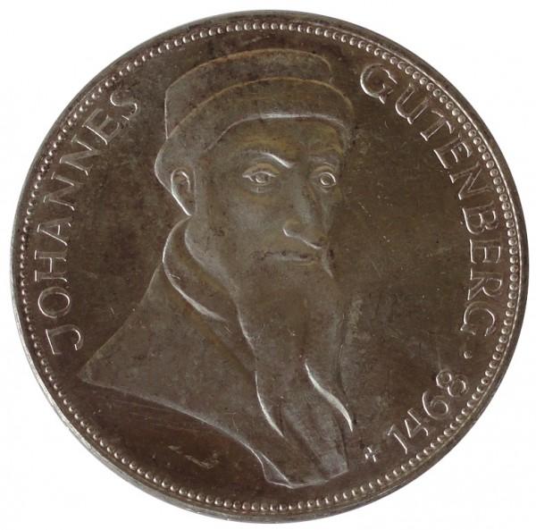 BRD: 5 DM Silber Gedenkmünze Johannes Gutenberg 1968 G