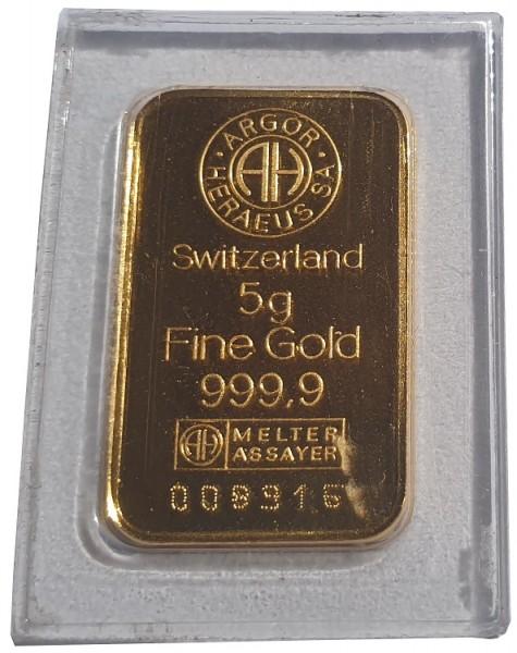 5 gr Goldbarren Argor Heraeus Schweiz 999,9/1000 Feingold