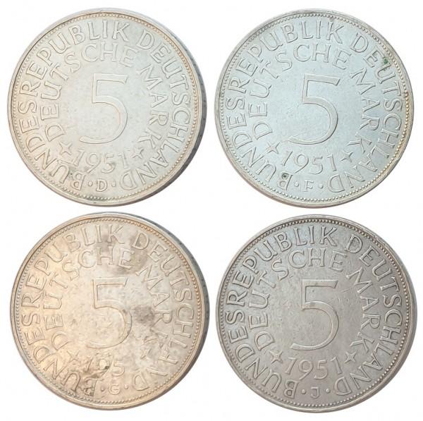 BRD: 5 DM Umlaufmünzen Silber DFGJ 1951 Komplettsatz