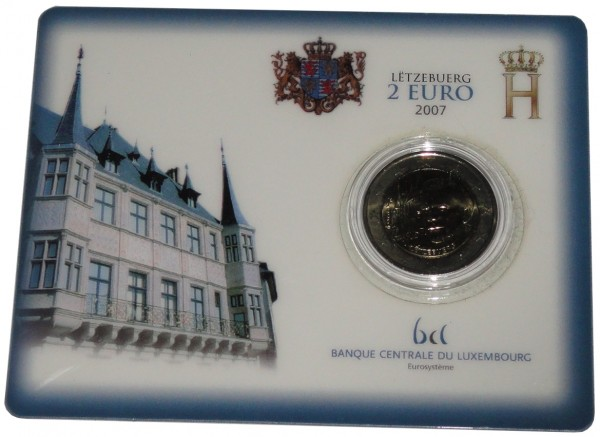 Luxemburg 2 Euro Gedenkmünze Großherzoglicher Palast 2007 Coincard