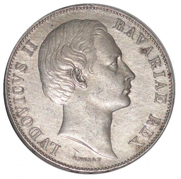 Bayern 1 Taler Silber Ludwig II C. Voigt Patrona Bavariae Madonnentaler