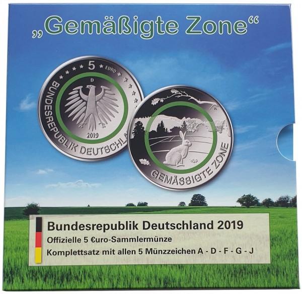 BRD: 5 x 5 Euro Gemäßigte Zone 2019 ADFGJ Stempelglanz im Blister