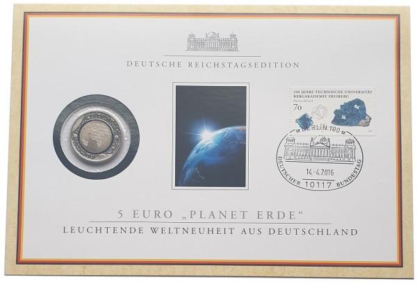 5 Euro Blauer Planet 2016 - Numisbrief Deutsche Reichstagsedition mit Briefmarke