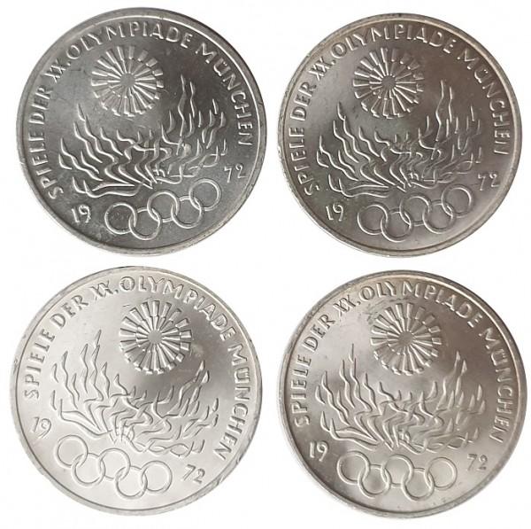 BRD: 4 x 10 DM Silber DFGJ Olympisches Feuer 1972 München