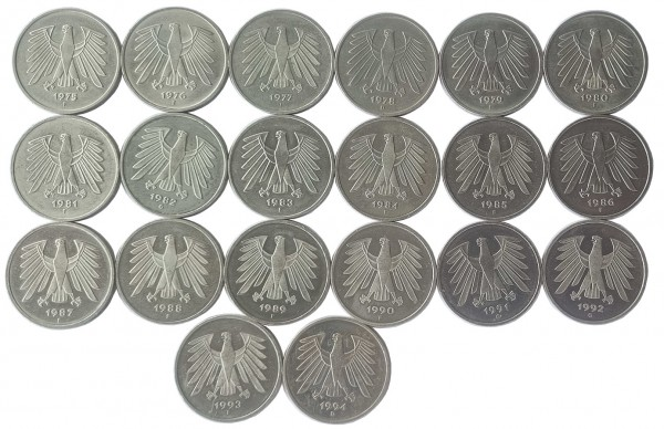 100 DM Umlaufmünzen 20 x 5 Deutsche Mark - Prägejahre 1975 bis 1994