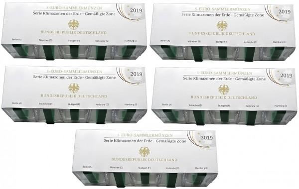 Sparpaket ! 5 Komplettsätze BRD: 5 x 5 Euro Gemäßigte Zone 2019 ADFGJ Polierte Platte PP