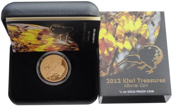 Neuseeland 10 Dollars 1/4 Oz Gold Kiwi 2012 Polierte Platte