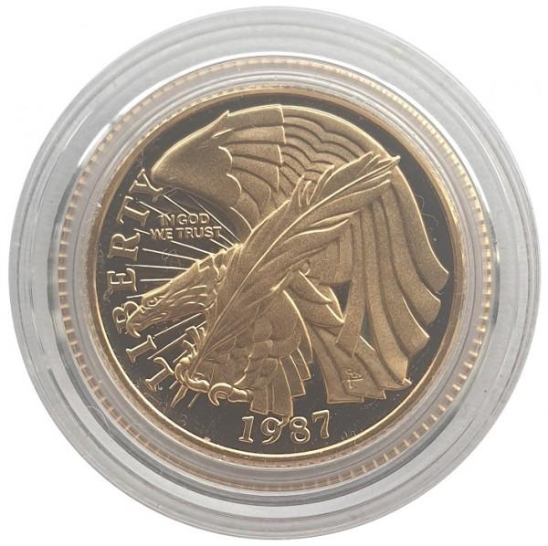 USA 5 Dollars Goldmünze 200 Jahre Verfassung Feder 1987 PP Proof