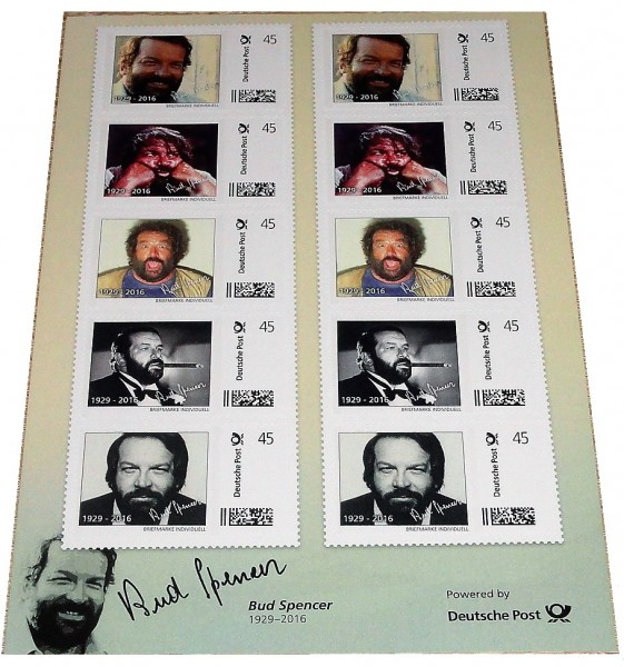 Bud Spencer Briefmarken 10 x 45 Cent Briefmarkenbogen Limited Edition nur 10.000 Stück !