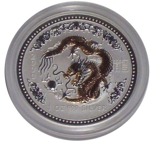 Australien 1 Oz Silber Lunar Drache 2000 vergoldet Gilded