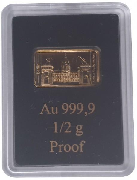 0,5 gr Goldbarren Schloß Charlottenburg Polierte Platte LEV