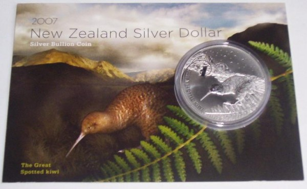 Neuseeland 1 Oz Silber Kiwi 2007 St Blister