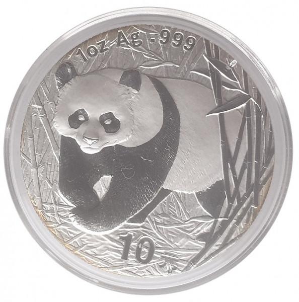China 10 Yuan 1 Oz Silber Panda 2002 - 31,1 gr 999/1000 Silber