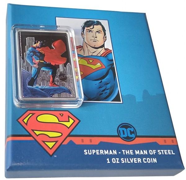 1 Oz Silber Superman - The Man of Steel - Niue 2021 Polierte Platte im Etui