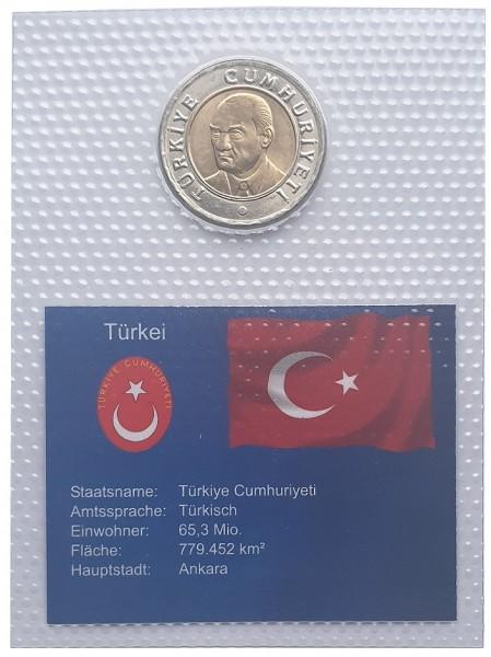 Türkei 1 Yeni Türk Lirasi Mustafa Kemal Atatürk 2005 Bimetall Münze Folie verschweist