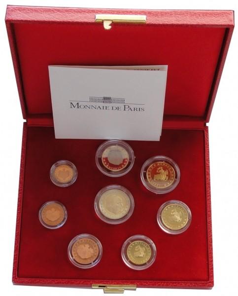 Monaco 3,88 Euro Kursmünzensatz 2001 Polierte Platte im Etui