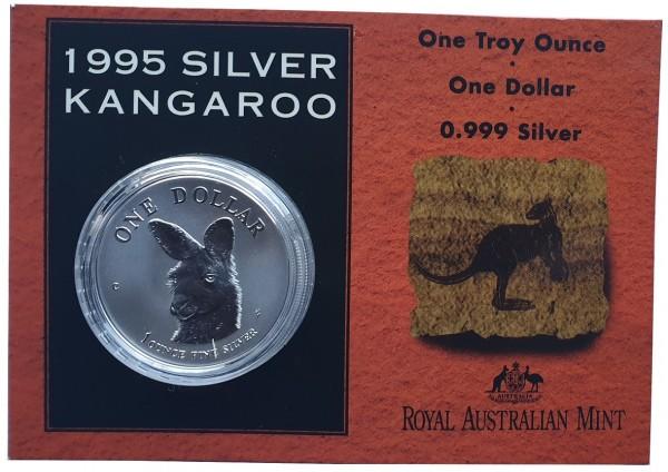 1 Oz Silber Känguru 1995 im Blister - Frosted Proof aus Australien
