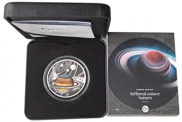 1 Oz Silber Saturn Niue - Solar System 2020 Polierte Platte im Etui