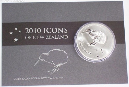 Neuseeland 1 Oz Silber Kiwi 2010 St Blister