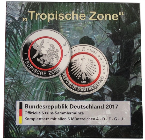 BRD: 5 x 5 Euro Tropische Zone 2017 ADFGJ Stempelglanz im Blister