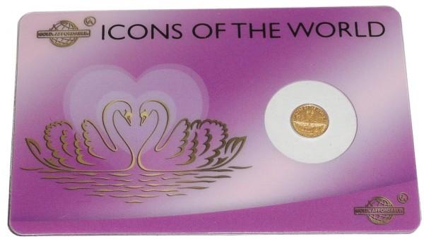 Ruanda Icons of the World Goldmünze Schwäne 999er Gold Affordable Blister