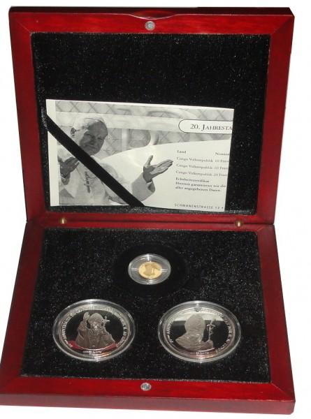 Kongo 2 x 10 Francs Silber & 20 Francs Gold 2000 Papstbesuch von Johannes Paul II