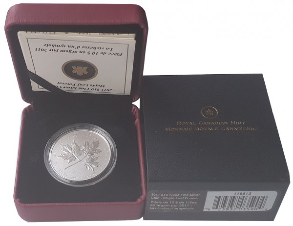 Canada 10 Dollars 1/2 Oz Silber Maple Leaf Forever 2011 im Etui - 999/1000 Feinsilber