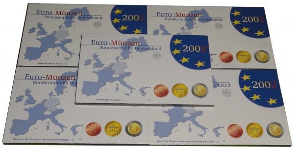 BRD: 5 x 3,88 Euro Kursmünzensatz 2002 Spiegelglanz