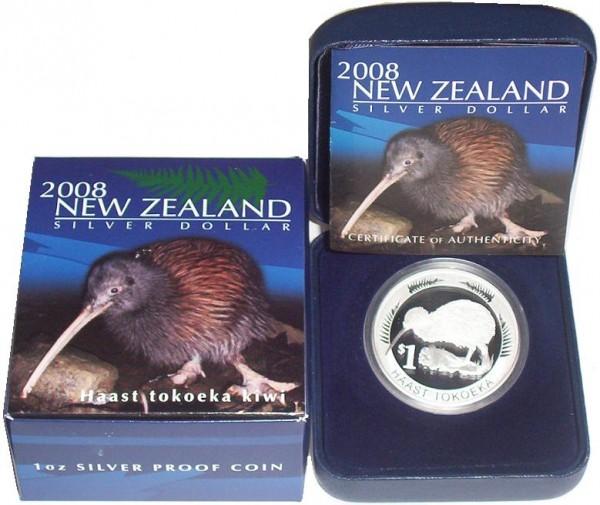 Neuseeland 1 Oz Silber Kiwi 2008 PP im Etui
