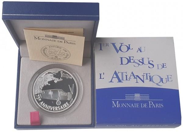 Frankreich 1,5 Euro Silber Charles Lindbergh 2002 - 1. Non-Stop-Flug über den Atlantik PP Etui