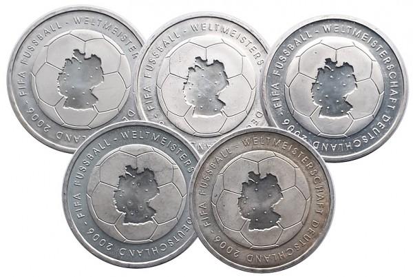 5 x 10 Euro Silber 2003 ADFGJ FIFA Fussball - Weltmeisterschaft 2006