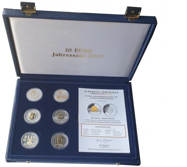 6 x 10 Euro Silber Gedenkmünzen 2005 mit Goldapplikation in Münzkasette