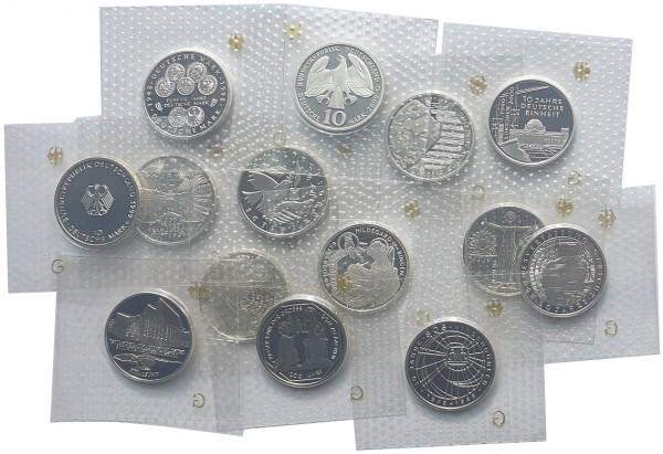 BRD: 10 DM Silber Gedenkmünzen 1998 - 2001 Polierte Platte Noppenfolie