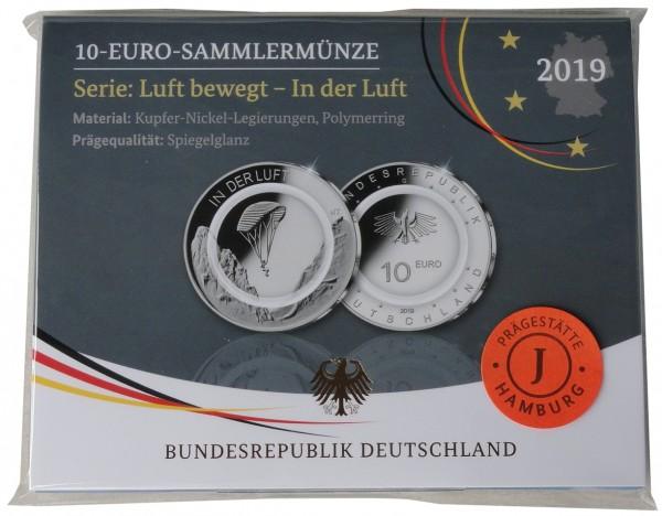 10 Euro in der Luft 2019 J Hamburg Polierte Platte mit farblosem Polymerring