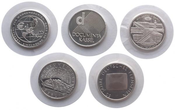 5 x 10 Euro Silber Gedenkmünzen Deutschland 2002 *Die ersten 5 Stück* in Folie