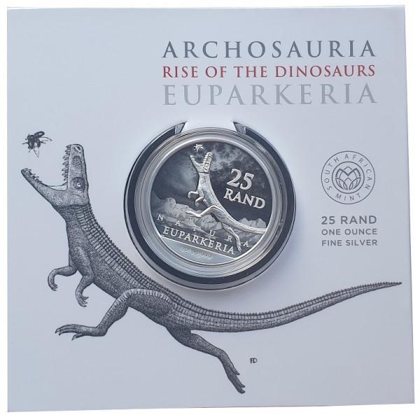Süd Afrika 1 Oz Silber Euparkeria 2019 Dinosaurier Blisterkarte nur 50.000 Stück !