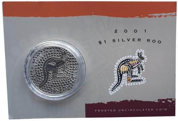 1 Oz Silber Känguru 2001 im Blister - Frosted Unzirkuliert aus Australien