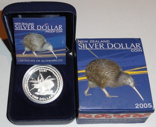 Neuseeland 1 Oz Silber Kiwi 2005 PP im Etui