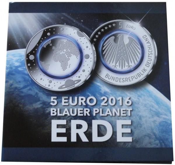 SONDERANGEBOT ! Blister mit 5 x 5 Euro Blauer Planet Erde 2016 ADFGJ Stempelglanz