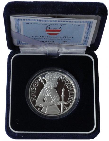 Österreich 100 Schilling Silber Münze Kaiser Maximilian 1992 Polierte Platte