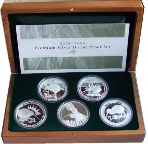 Neuseeland 5 x 1 Oz Silber Kiwi Premium Set 2004 - 2008 PP
