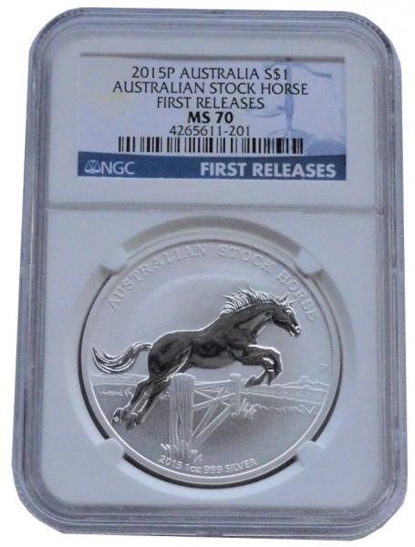 Australien 1 Oz Silber Stock Horse Pferd 2015 NGC MS 70