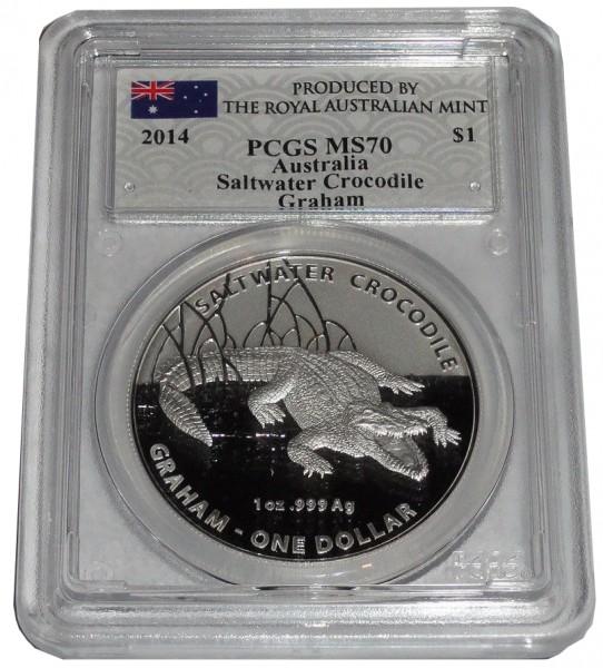 Australien 1 Oz Silber Salzwasser - Krokodil 2014 Graham PCGS MS - 70