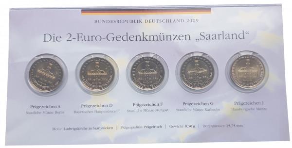 BRD: 5 x 2 Euro Münzen ADFGJ Ludwigskirche in Saarbrücken 2009 im Folder