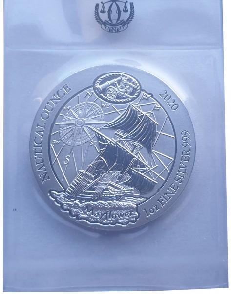 Ruanda 1 Oz Silber Mayflower Schiff BU in Folie 2020 Nautical Ounce